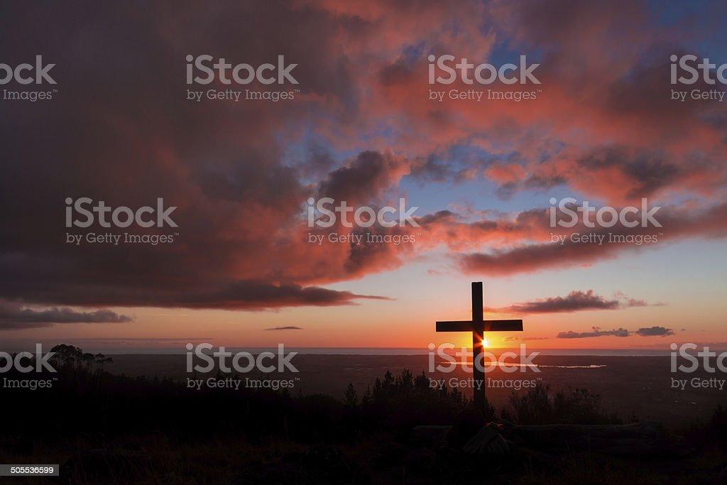 Hill Top Sunset Cross stock photo