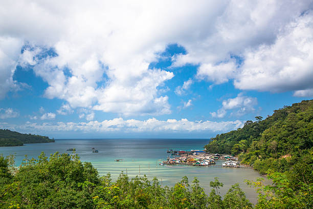 hill top view of fishing village in kog chang Thailand hill top view of fishing village in kog chang Thailand koh chang stock pictures, royalty-free photos & images