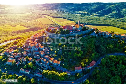 istock Hill town of Motovun at sunset aerial view, Istria region of Croatia 1057599828