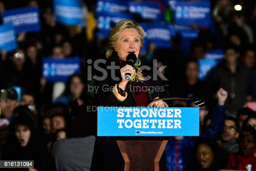 Philadelphia, PA, USA - October 22, 2016: Democratic presidential candidate Hillary Clinton and running mate Sen. Tim Kaine campaign together at a rally in Philadelphia, PA