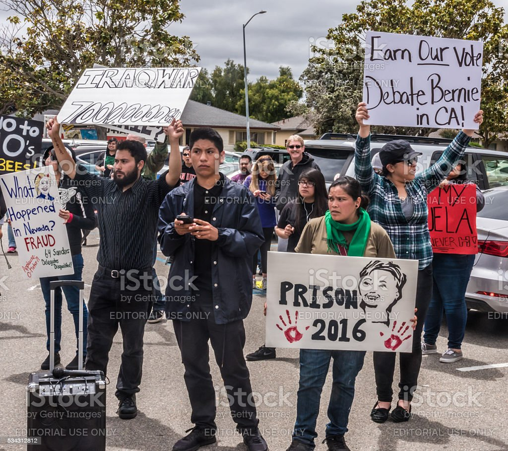 Hillary Clinton Protesters in California stock photo