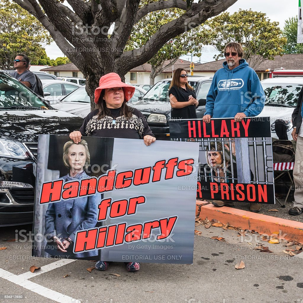 Hillary Clinton Protesters in California stock photo