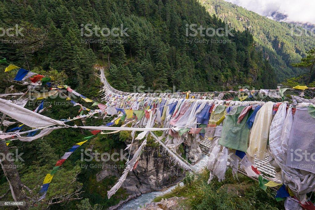 Hillary Suspension Bridge, Everest region, Nepal Lizenzfreies stock-foto