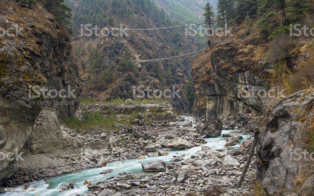 Hillary Suspension Bridge, Everest region stock photo