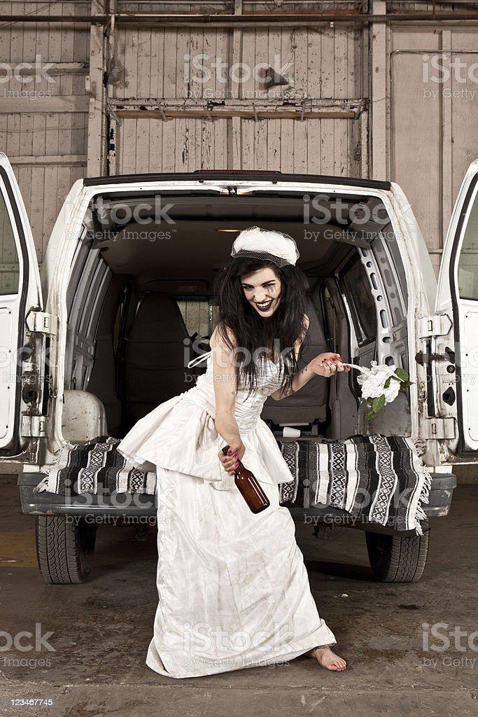 Hillbilly redneck bride stock photo
