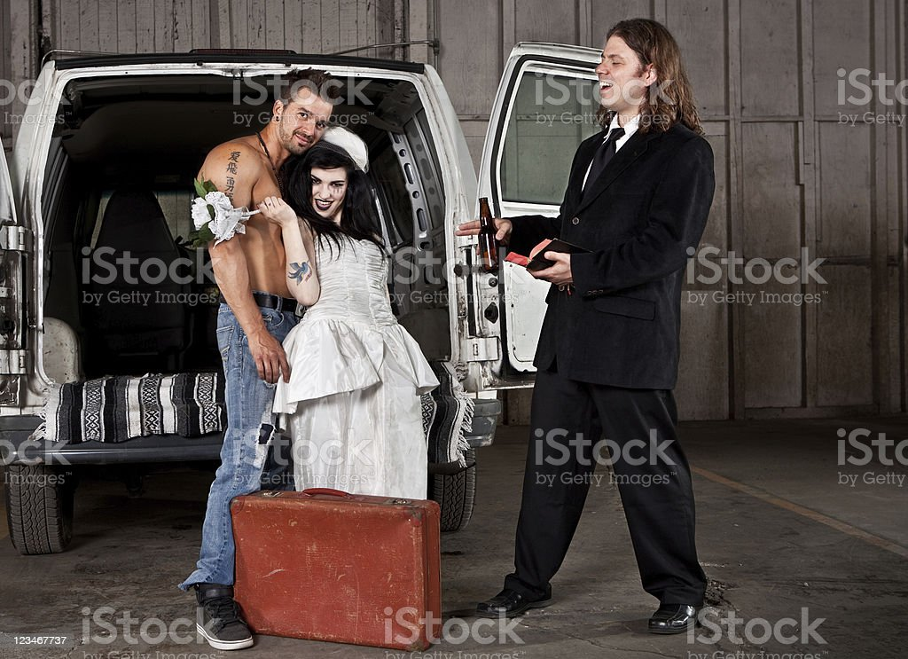 Hillbilly redneck wedding stock photo