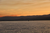 seascape, hills and beautiful shades of sky from Saint-Tropez harbour
