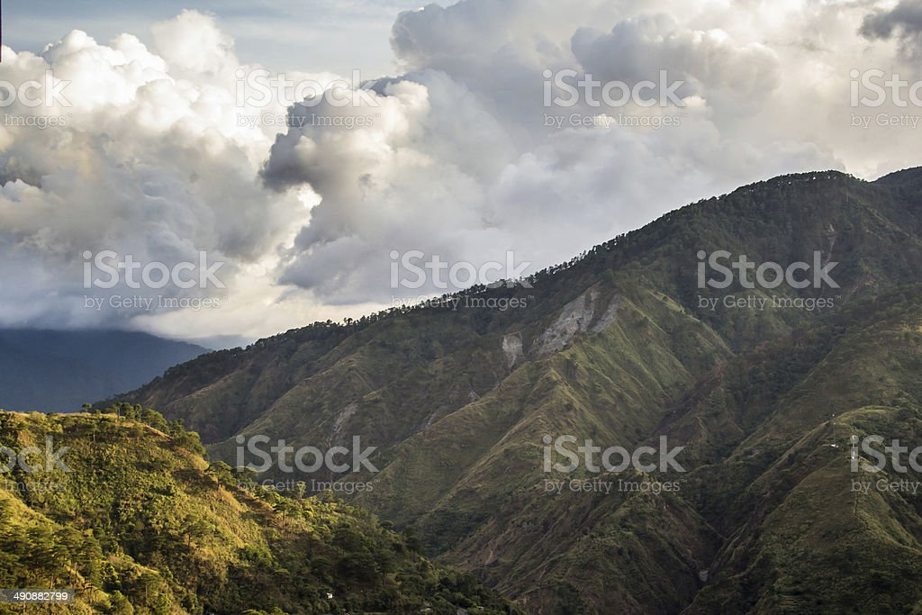 hills and clouds stock photo