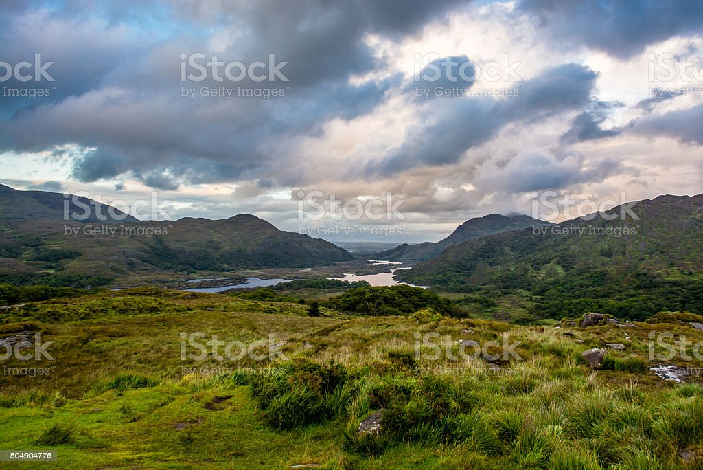Hills and Lake in Ireland stock photo