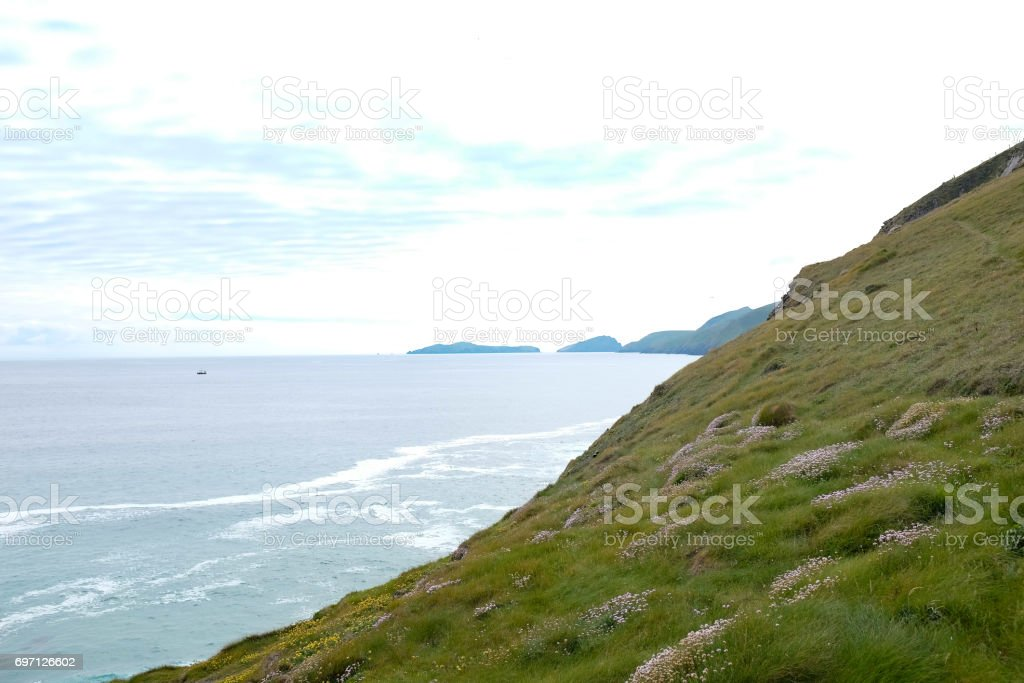 Hills and Mountains at sea. stock photo