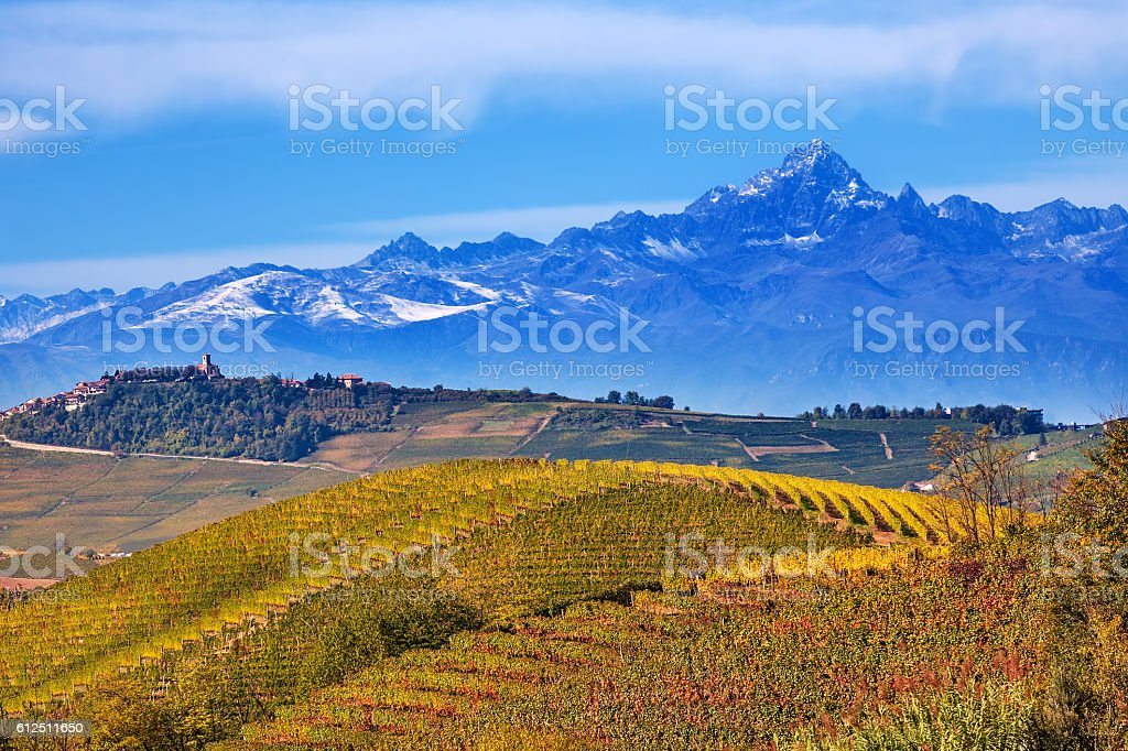Hills and mountains in Piedmont, Italy. stock photo