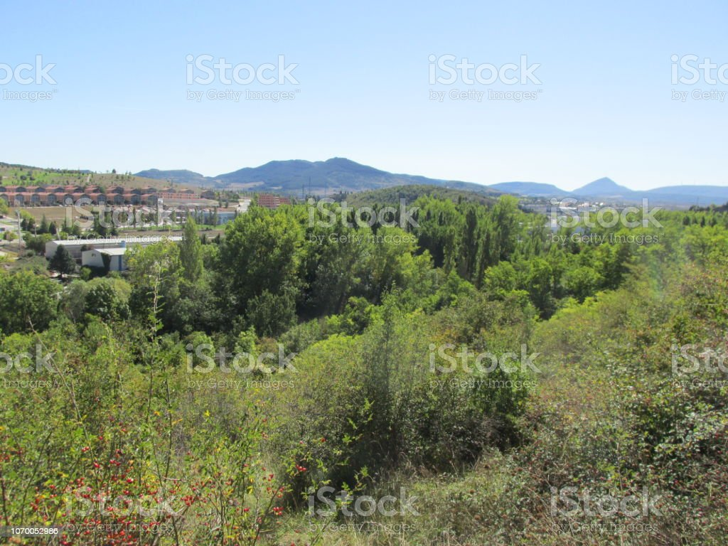 Hills and village in Spain stock photo