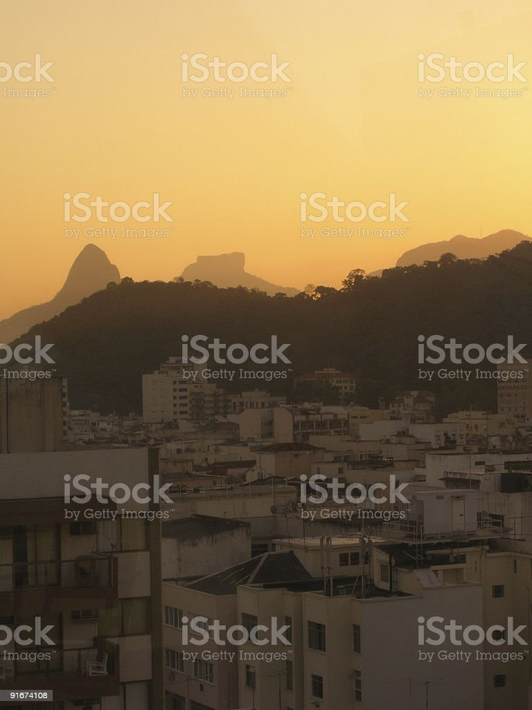 Hills filled with hotels at Rio de Janeiro royalty-free stock photo