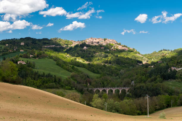 Hills in the Marche region (center Italy) with Urbino in the background stock photo