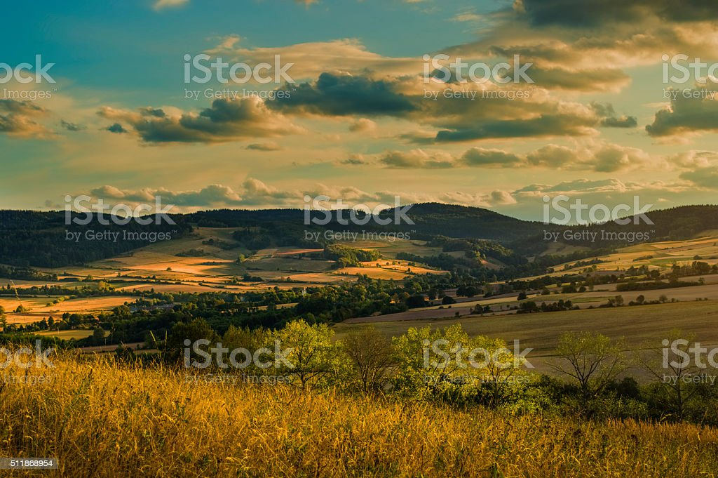 Hills in the sunset light stock photo