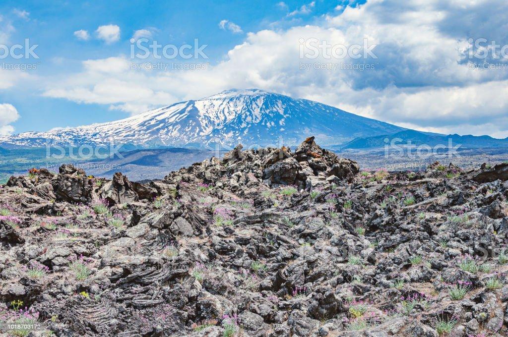 Hills of lava on Etna volcano background. - foto stock