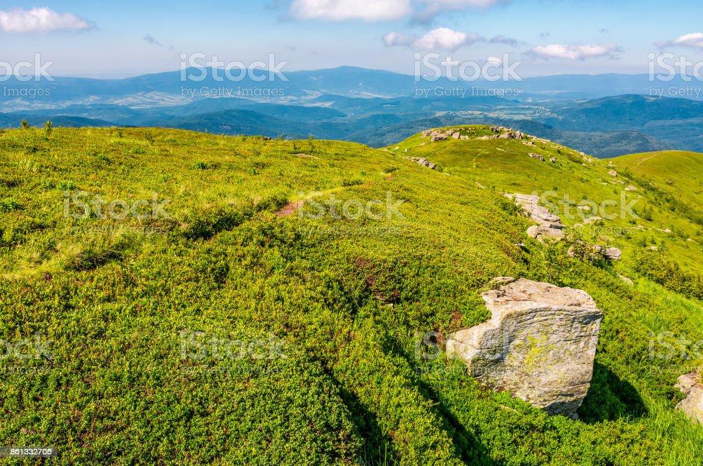 hills of mountain ridge with huge boulders stock photo