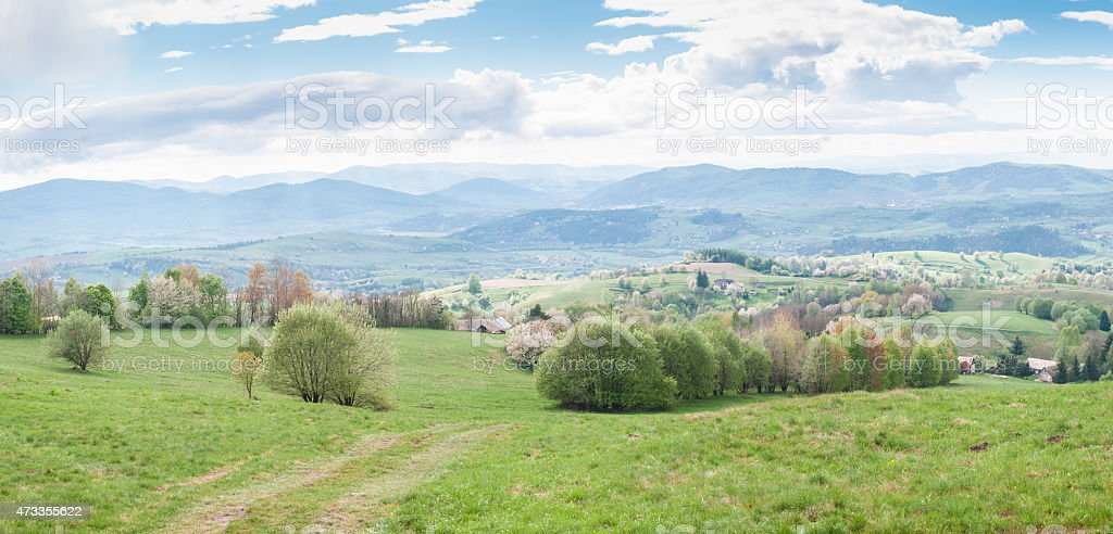 Hills region panorama in Detva area, Slovakia stock photo