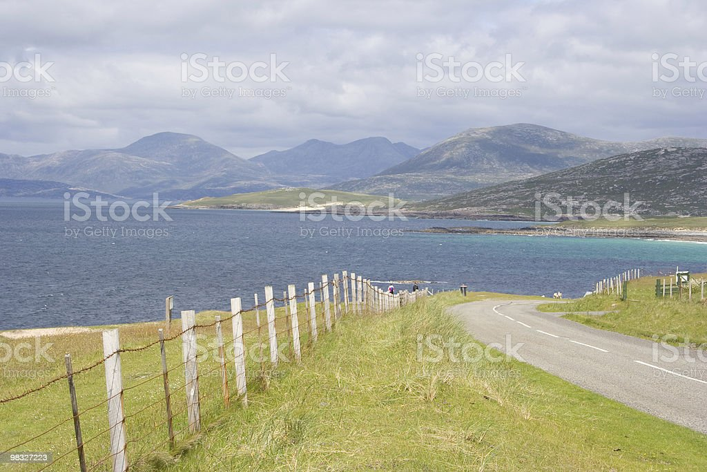 Hills, sea and road in Scottish Highlands royalty-free stock photo