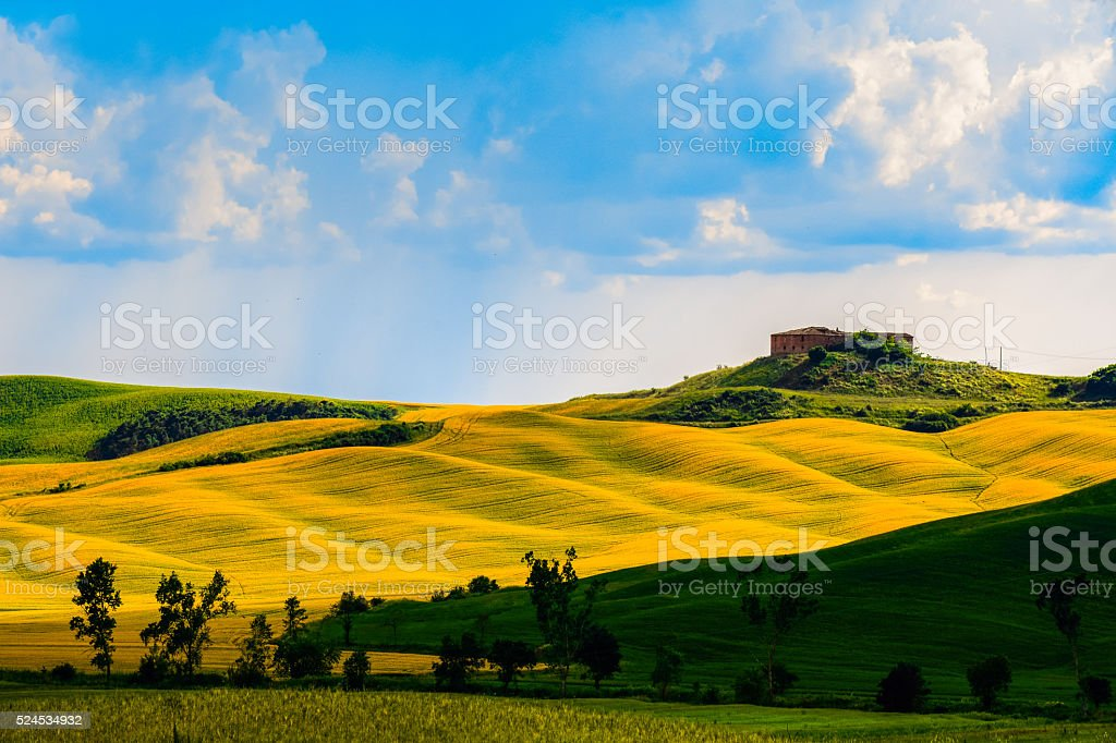 Hills with light and shadow near Siena, Tuscany stock photo
