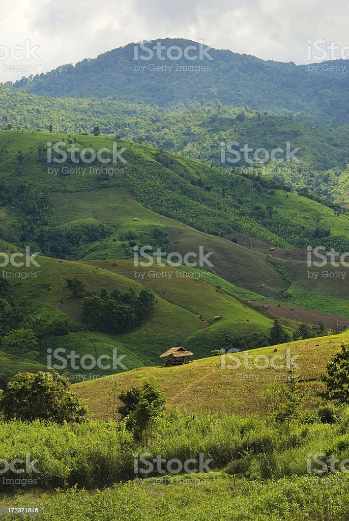Hills With Little Huts royalty-free stock photo