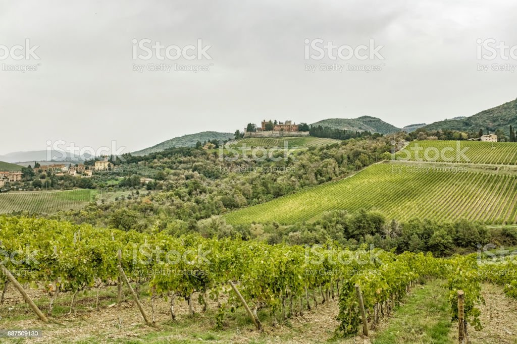 Hills with vineyards and castle Brolio on a rainy day in autumn in Tuscany stock photo