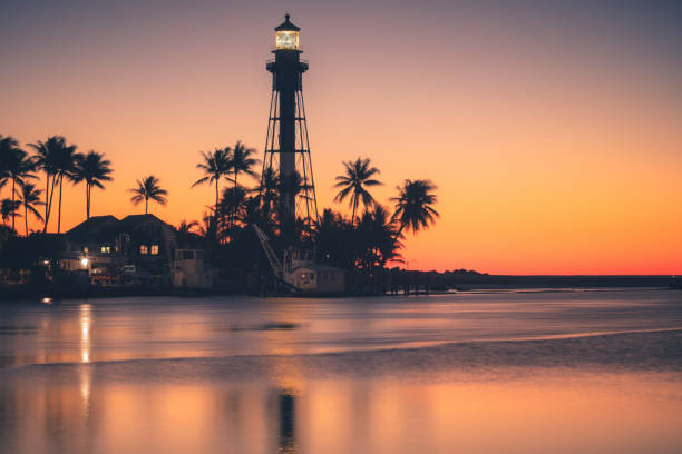 Hillsboro Inlet Lighthouse at sunrise stock photo