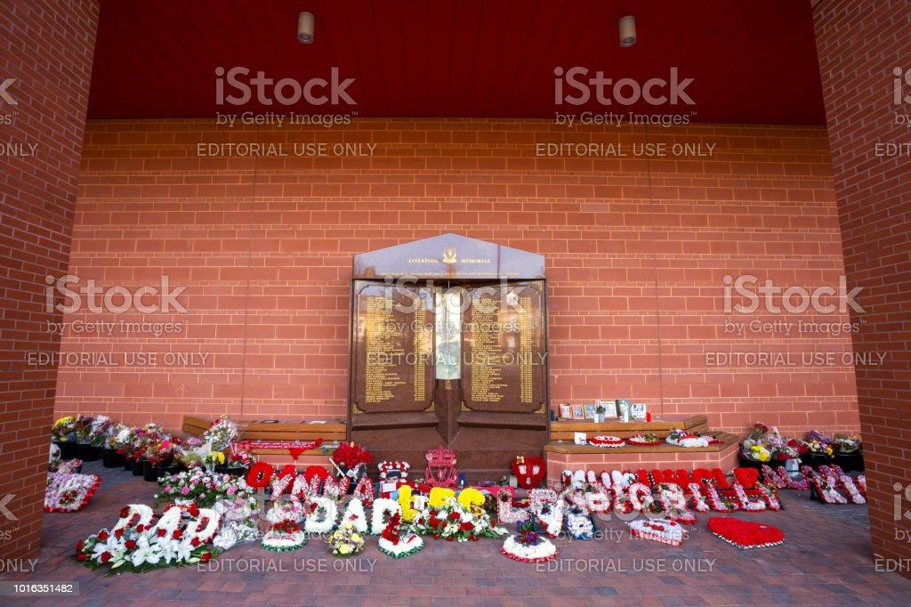 Hillsborough memorial at Anfield stadium in Liverpool, UK stock photo