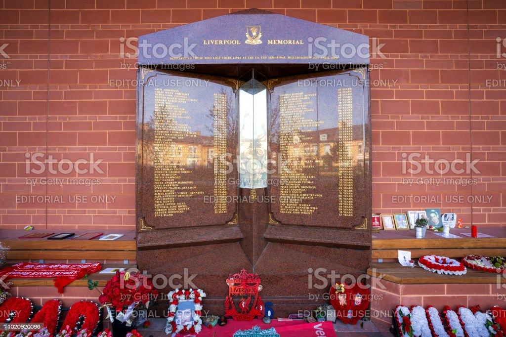 Hillsborough memorial at the Anfield stadium in Liverpool, UK stock photo