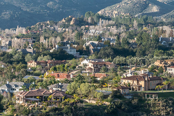 hillside mansions - san fernando valley stock photos and pictures