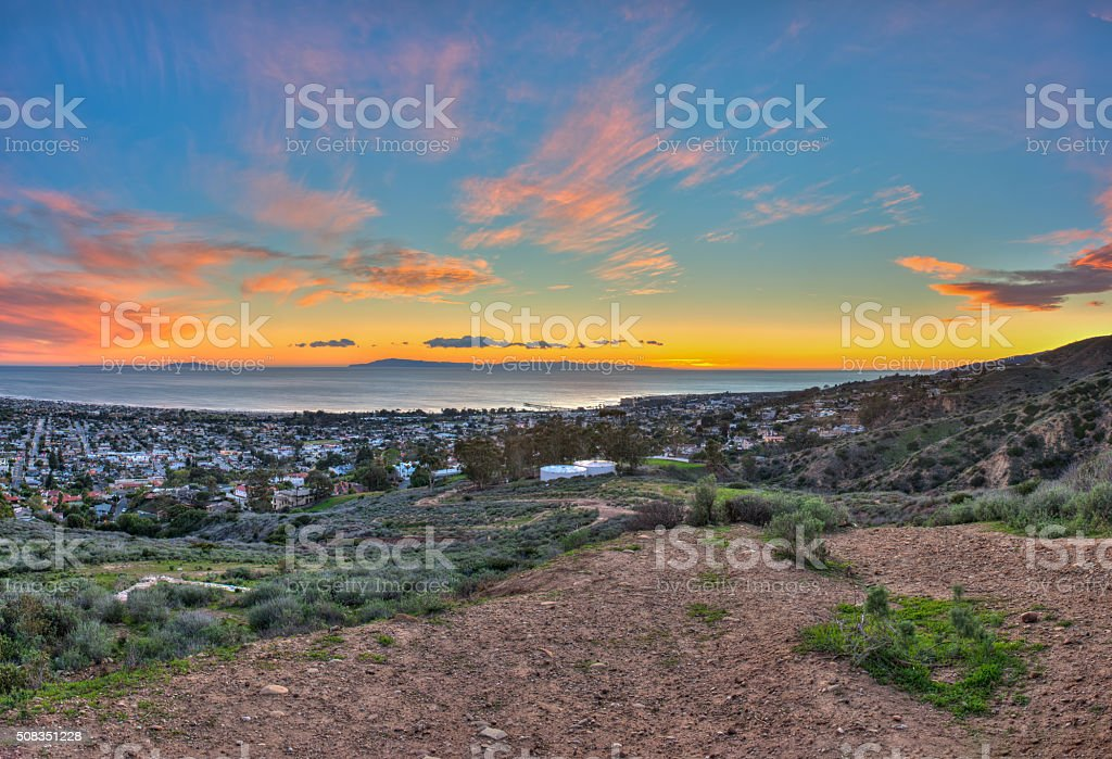Hillside overlooking Ventura sunset stock photo