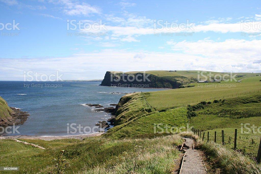 Hillside percorso con costa del Mare del Nord e scogliere, foto stock royalty-free