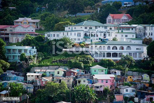 Towns climb up the hills above Catries Harbor in St. Lucia.
