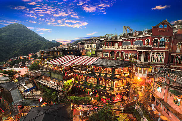Hillside teahouses in Jiufen, Taiwan. New Taipei City, Taiwan - June 30, 2014: The seaside mountain town scenery in Jiufen, Taiwan taiwan stock pictures, royalty-free photos & images