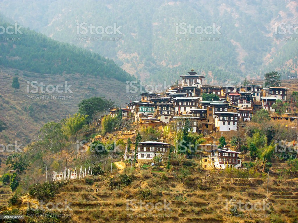 Hillside town in Bhutan stock photo