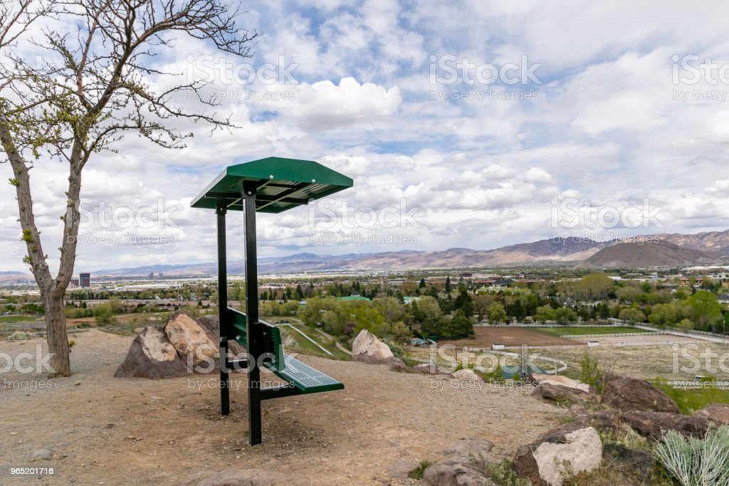 Hilltop bench with a view of Reno, Nevada. royalty-free stock photo