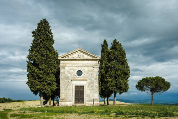 Hilltop chapel in Tuscany stock photo