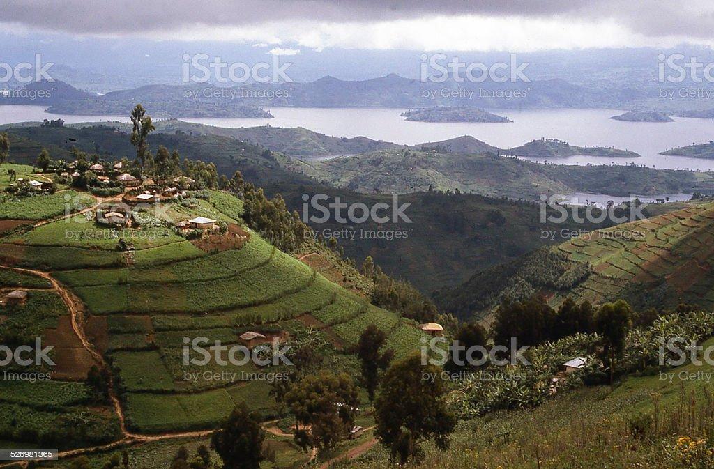 Hilltop Village overlooking Lake Ruhondo Central Highlands Rwanda Africa stock photo