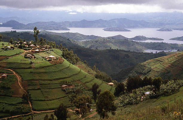 Hilltop Village overlooking Lake Ruhondo Central Highlands Rwanda Africa stock photo