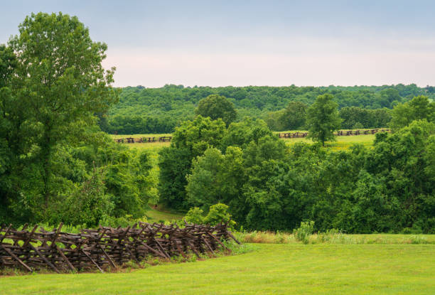 Hilly Landscape at Wilson's Creek National Battlefield stock photo