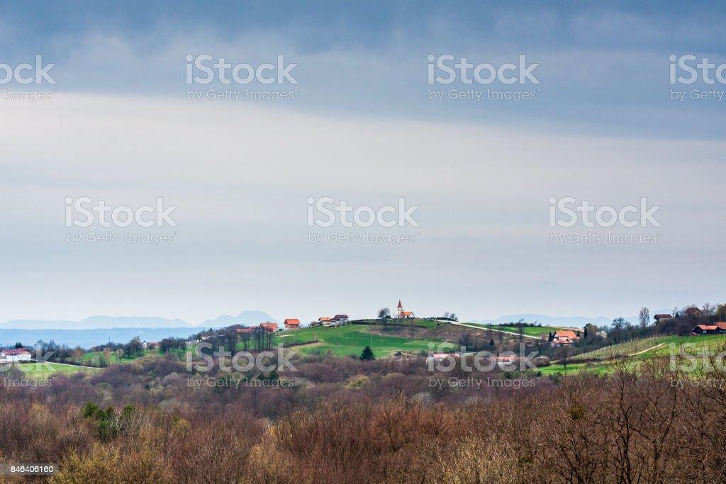Hilly landscape of Goricko, Prekmurje, Slovenia. stock photo