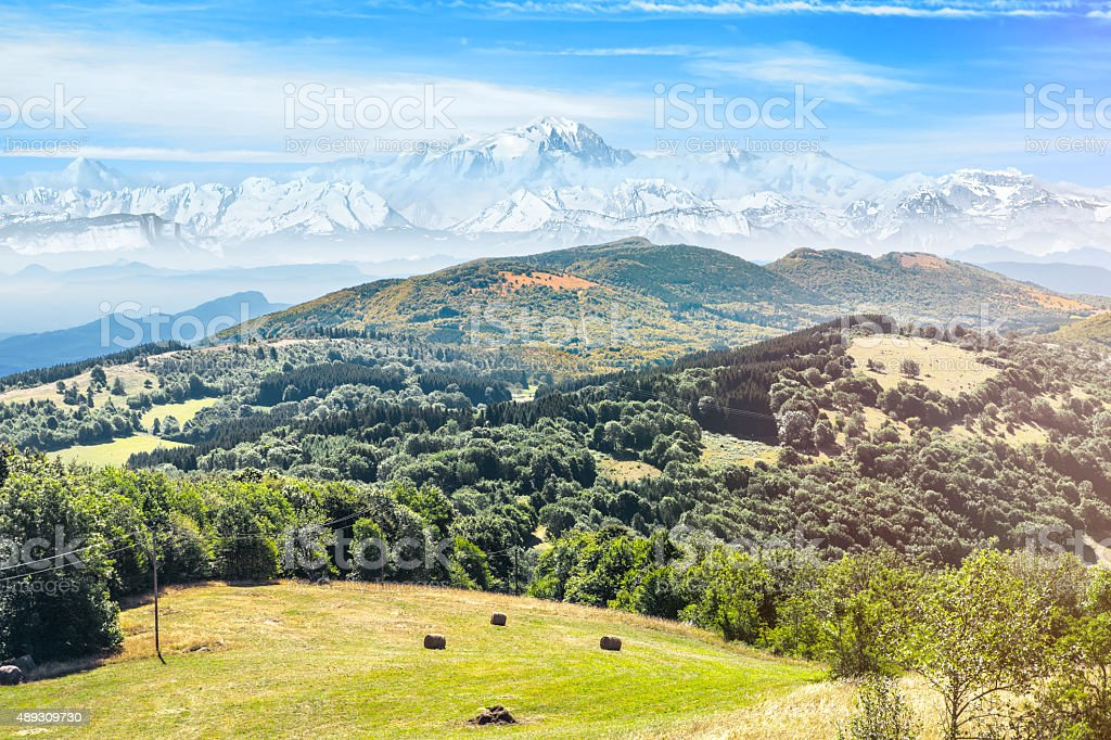 Hilly landscapes of the Alps massif with Mont Blanc mountain stock photo