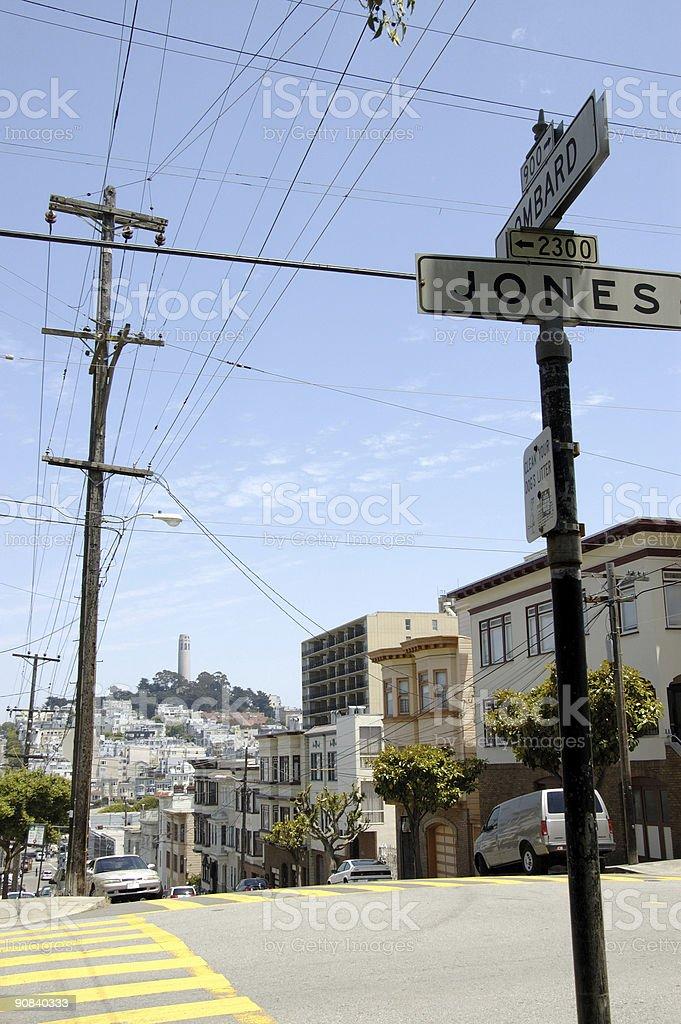Hilly San Francisco intersection near Fisherman's Wharf Area royalty-free stock photo