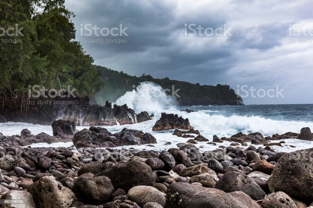 hilo rough coastline hawaii stock photo