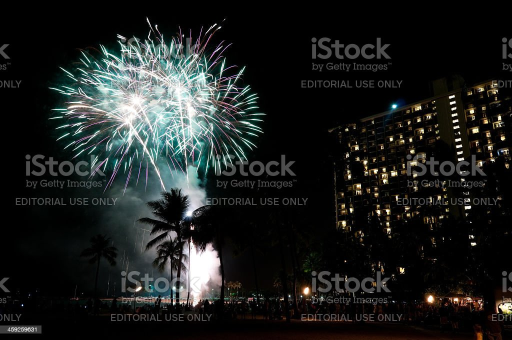 Hilton fireworks show royalty-free stock photo