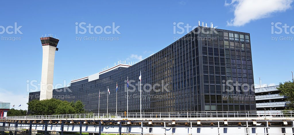 Hilton Hotel and Control Tower  at OHare airport, Chicago royalty-free stock photo