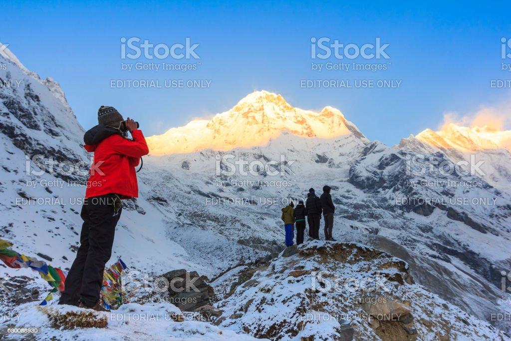 Himalaya Annapurna mountain in sunrise, Annapurna base camp, Nepal stock photo
