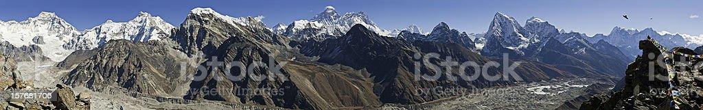 Himalaya Everest mega panorama snow capped mountain summits glaciers Nepal royalty-free stock photo