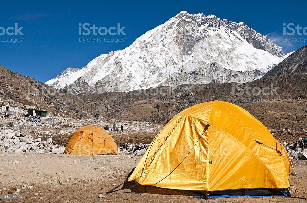 Himalaya Everest NP base camp tents mountain peaks Khumbu Nepal royalty-free stock photo