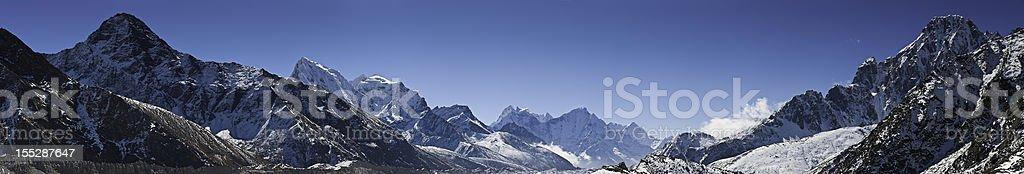 Himalaya Khumbu high altitude peaks panorama Nepal royalty-free stock photo